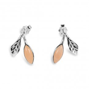 Blooming spring earing silver peach